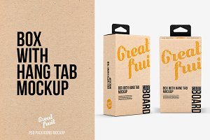 Box with Hang Tab PSD Mockup