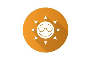 Cool sun smile flat design long shadow glyph icon