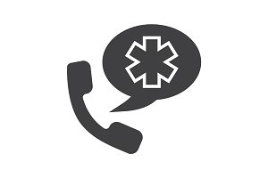 Emergency phone call to hospital glyph icon