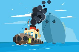 Tug Boat Vector Illustration