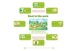 Rest in Park Poster with Activities Infographics