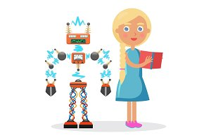 Little Blond Girl in Dress and Electric robot