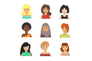 Girls Face Nationality Set. Vector