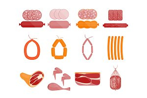 Meat and Sausage Set. Vector