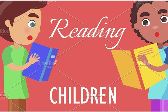 Reading For Children Poster With Boys Illustration