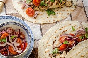 Turkey kebab with parsley salsa