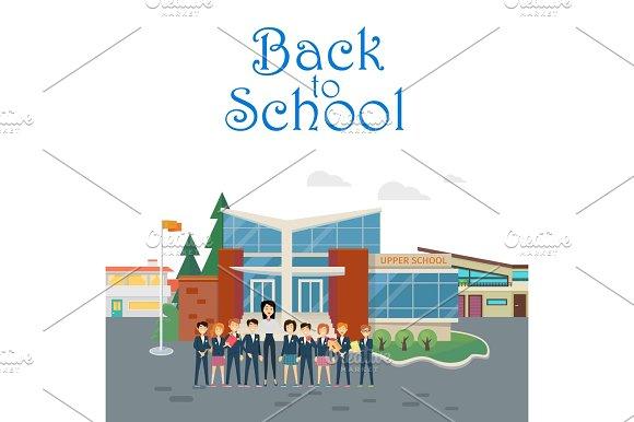 Back To School Teacher With Pupils On School Yard