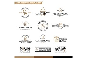 Set of vector coffee and tea logo combination.