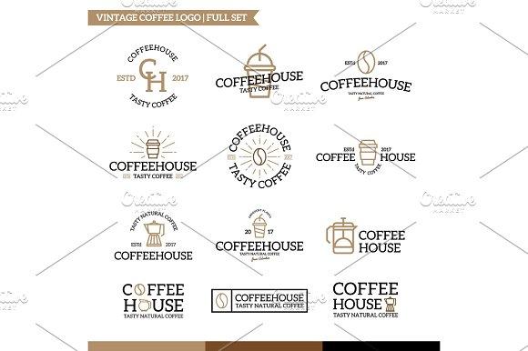 Set Of Vector Coffee And Tea Logo Combination