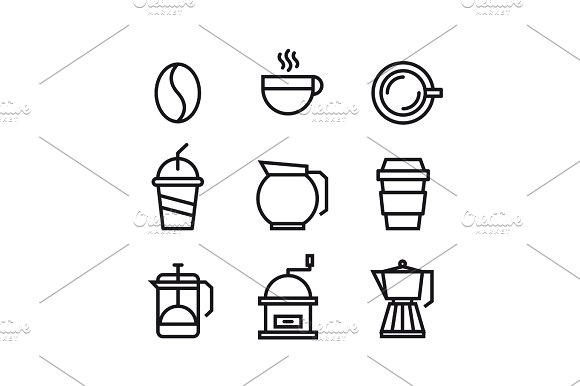 Unique Coffee And Drink Symbol Or Icon Design Template