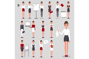Modern Businesswoman at Work Illustrations Set