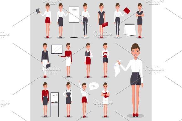 Modern Businesswoman At Work Illustrations Set