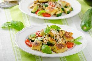 Homemade gnocchi with mediterranean vegetables