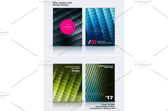 Set Of Business Vector Template Brochure Design Abstract Annual Report