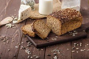 Whole wheat bread baked at home