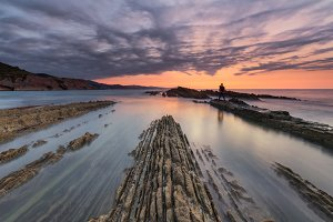 Sunset at Itzurun beach in Zumaia