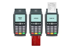 Vector payment machine and credit card. POS terminal confirms the payment by debit credit card, invoce. Vector illustration in flat design. NFC payments concept