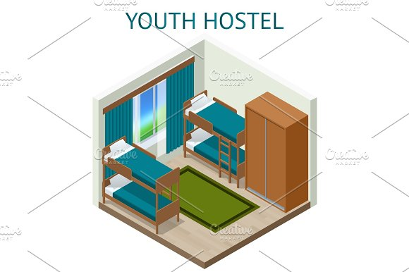 Youth Hostel Building Facade Backpack Double Decker Bunk Bed Room Key Travel And Tourism Business Themed Items Isometric Hostel Room