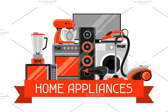 Background With Home Appliances Household Items For Sale And Shopping Advertising Poster