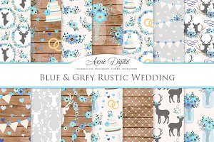 Blue and Gray Rustic Wedding Pattern