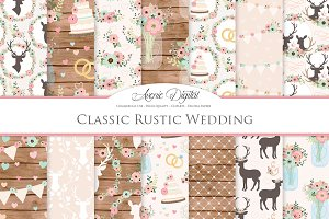 Pink and Mint Rustic Wedding Pattern