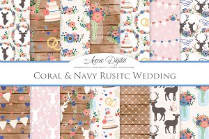 Coral & Navy Rustic Wedding Patterns