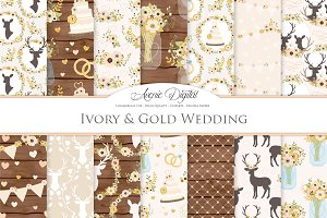 Ivory & Gold Rustic Wedding Patterns