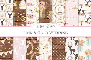 Pink & Gold Rustic Wedding Patterns