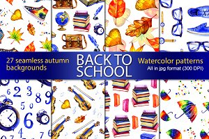 27 school autumn seamless patterns