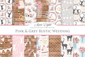 Pink & Gray Rustic Wedding Patterns