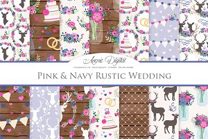 Pink & Navy Rustic Wedding Patterns