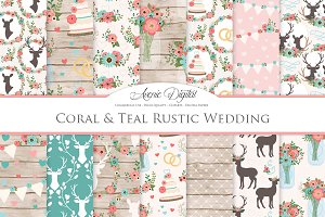 Teal & Coral Rustic Wedding Patterns