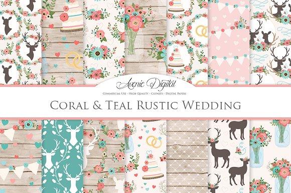 Teal Coral Rustic Wedding Patterns