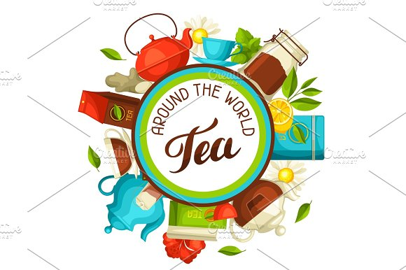 Tea Around The World Illustration With Tea And Accessories Packs And Kettles