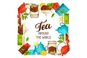 Tea around the world. Illustration with tea and accessories, packs and kettles