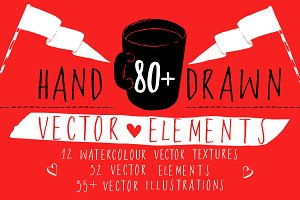 80+ hand-drawn vector elements set