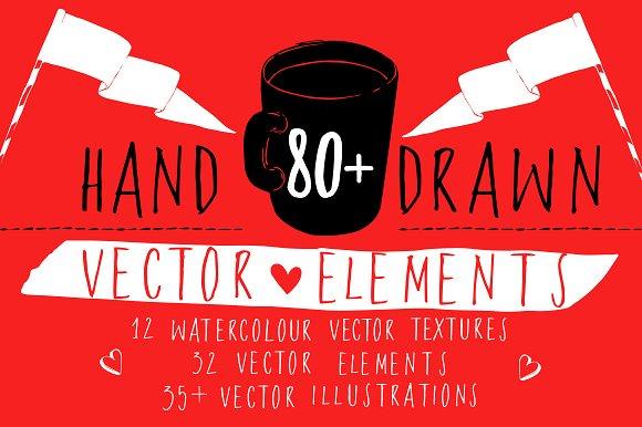 80 Hand-drawn Vector Elements Set