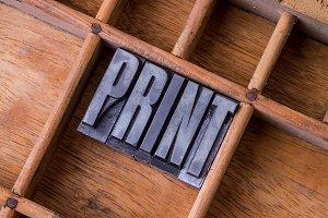 Typesetter drawer: 'PRINT'
