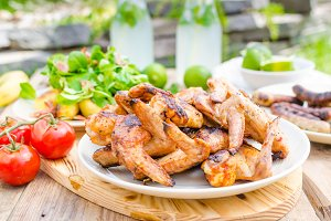 Delicious barbecue with lemonade
