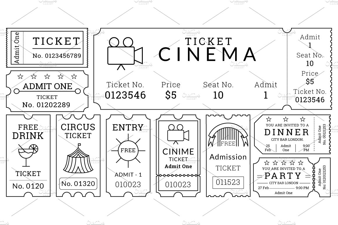 ticket templates pack illustrations creative market