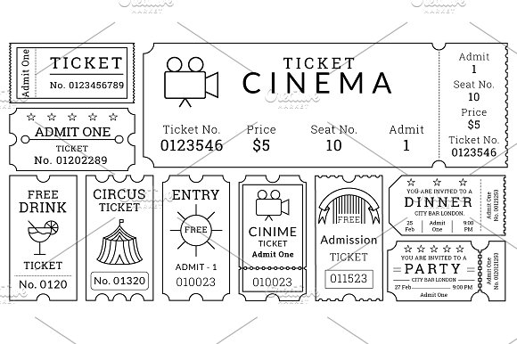 Ticket Templates Pack ~ Illustrations ~ Creative Market