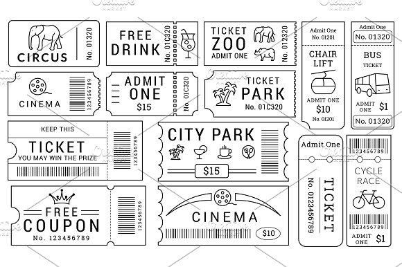 Ticket Templates Pack Illustrations on Creative Market – Bus Ticket Template