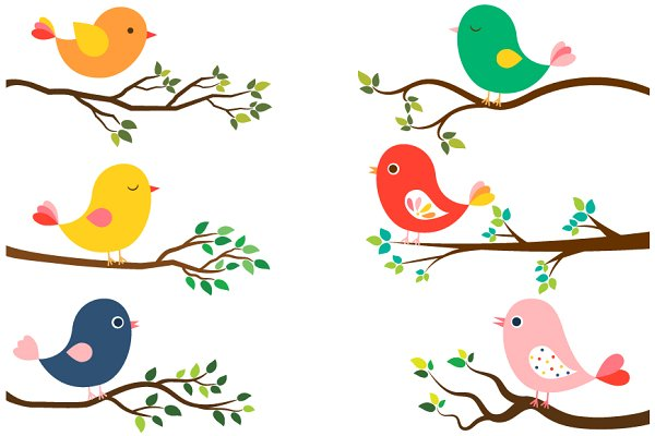 Cute Birds And Tree Branches Clipart Custom Designed Illustrations Creative Market