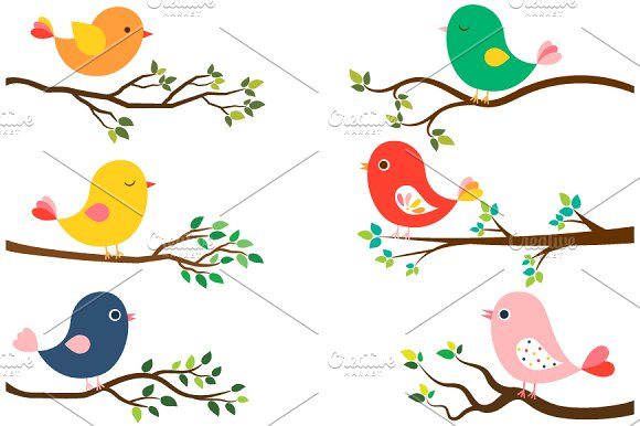 Cute Birds And Tree Branches Clipart