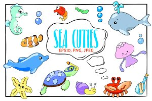 Cute Sea Animals Vector Clipart