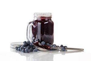 Fresh Blueberry Jam on White
