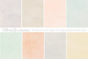 8 Watercolor web tiles & high res
