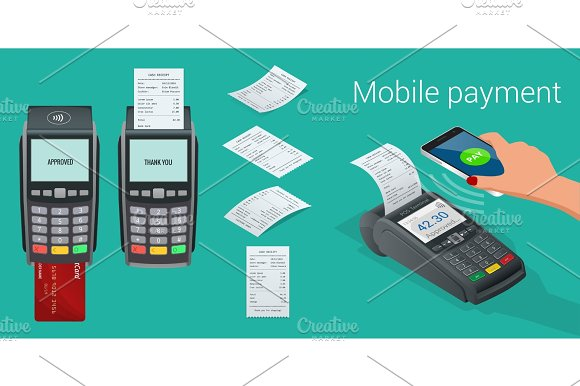 Vector Payment Machine And Credit Card POS Terminal Confirms The Payment By Debit Credit Card Invoce Vector Illustration In Flat Design NFC Payments Concept Isometric NFC Payments Concept
