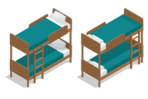 Isometric vector wooden two-storeyed bed separately on a white background. Living-room in a hostel with two bunk beds. Camp Cabin.