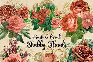 Peach and Coral Shabby Florals